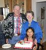 John Precup, Dena & Stefi, celebrating Dena's 81st birthday and Stefi's 7th birthday