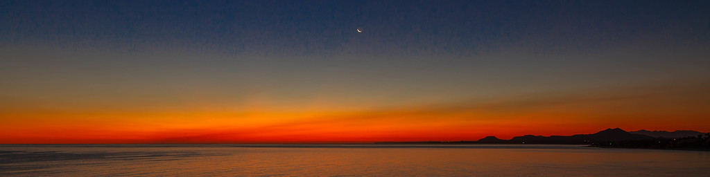 """Little Silver Slipper of a Moon"" at Dawn over the Sea of Cortez"